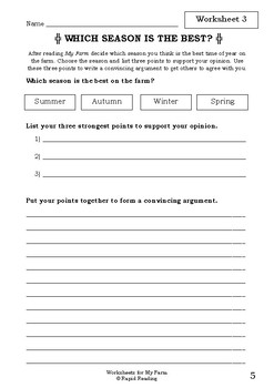 Worksheets for MY FARM - Alison Lester - Picture Book Literacy