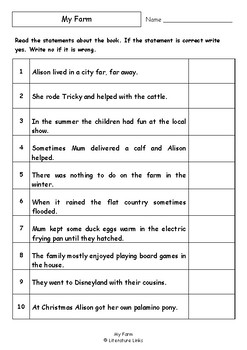 Worksheets for MY FARM by Alison Lester - Comprehension & Vocab Focus
