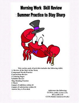 Math & Language Reviews -Summer Practice to Stay Sharp-6CCSS