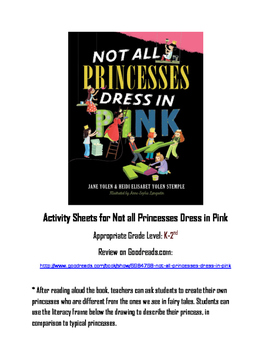 """Worksheets for """"Not all Princesses Dress in Pink"""" Read Aloud with sentence frame"""