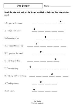 Worksheets for ONE SUNDAY by Pamela Allen - Comprehension & Vocab