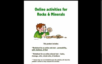 Worksheets for Online Labs about Rocks and Minerals
