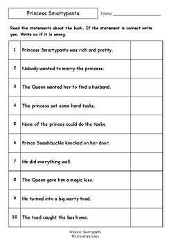 Worksheets for PRINCESS SMARTYPANTS by Babette Cole - Comprehension Vocab Focus