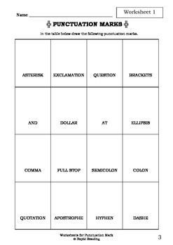 Worksheets for PUNCTUATION MARK - Belinda Ellis - Picture Book Literacy