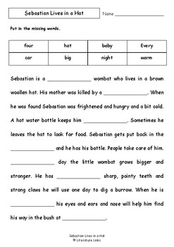 Worksheets for SEBASTIAN LIVES IN A HAT by Thelma Catterwell & Kerry Argent