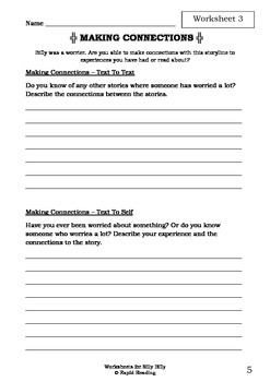 Worksheets for SILLY BILLY - Anthony Browne - Picture Book - Literacy