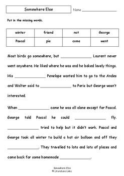 Worksheets for SOMEWHERE ELSE by Gus Gordon - Comprehension & Vocab