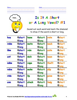Worksheets for Short & Long Vowel Practice
