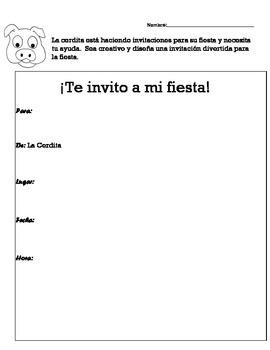 Worksheets for Si Le Haces Una Fiesta a Una Cerdita by Laura Numeroff