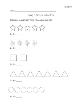 Worksheets for Subtraction Sentences with Minuends and Subtrahends Through 8