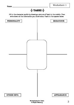 Worksheets for TASHI - Anna Fienberg - Beginning Chapter Book - Literacy