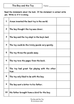 Worksheets for THE BOY AND THE TOY by Sonya Hartnett - Comprehension & Vocab