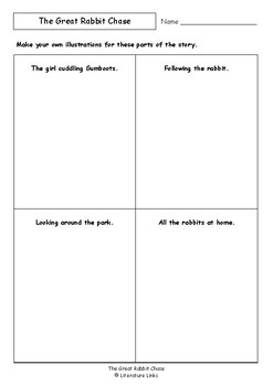 Worksheets for THE GREAT RABBIT CHASE by Freya Blackwood - Comprehension & Vocab