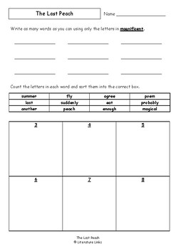 Worksheets for THE LAST PEACH by Gus Gordon - Comprehension & Vocab