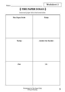 Worksheets for THE PAPER DOLLS - Julia Donaldson - Picture Book - Literacy