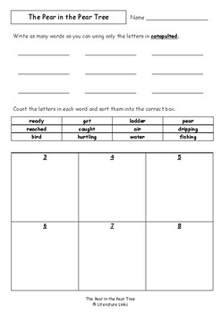Worksheets for THE PEAR IN THE PEAR TREE by Pamela Allen - Comprehension & Vocab