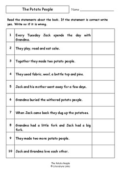 Worksheets for THE POTATO PEOPLE by Pamela Allen - Comprehension & Vocab Focus