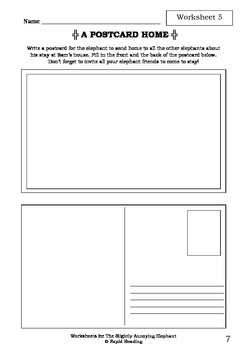 Worksheets for THE SLIGHTLY ANNOYING ELEPHANT - David Walliams - Picture Book