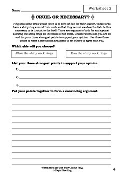Worksheets for THE STORY ABOUT PING - Marjorie Flack & Kurt Wiese - Picture Book