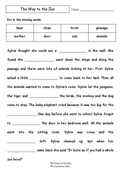 Worksheets for THE WAY TO THE ZOO by John Burningham - Comprehension & Vocab