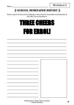 Worksheets for THREE CHEERS FOR ERROL - Babette Cole - Picture Book Literacy