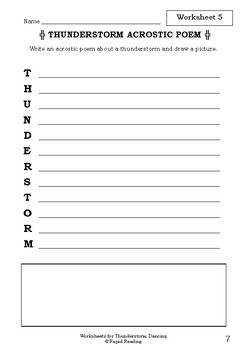 Worksheets for THUNDERSTORM DANCING - Katrina Germein & Judy Watson - Literacy