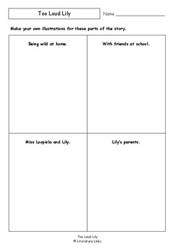 Worksheets for TOO LOUD LILY by Sofie Laguna & Kerry Argent Comprehension Vocab