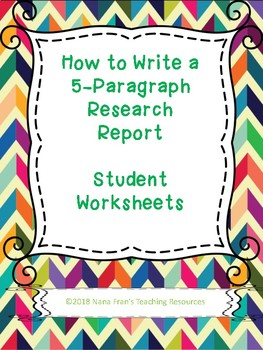 Worksheets for Teaching How to Write a Research Paper