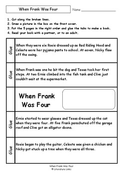 Worksheets for WHEN FRANK WAS FOUR by Alison Lester - Comprehension Vocab Focus