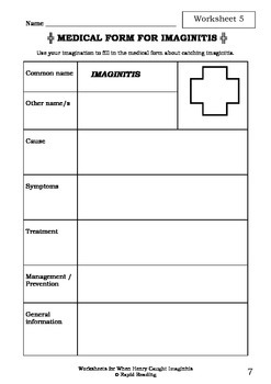 Worksheets for WHEN HENRY CAUGHT IMAGINITIS - Nick Bland - Picture Book