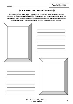 Worksheets for WILLY'S PICTURES - Anthony Browne - Picture Book - Literacy
