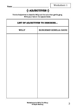 Worksheets for WILLY THE WIMP - Anthony Browne - Picture Book - Literacy