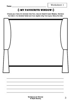 Worksheets for WINDOW - Jeannie Baker - Picture Book - Literacy