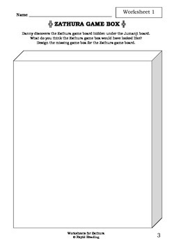 Worksheets for ZATHURA - Chris Van Allsburg - Picture Book - Literacy