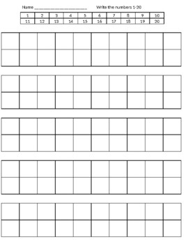 Worksheets for kids write their numbers