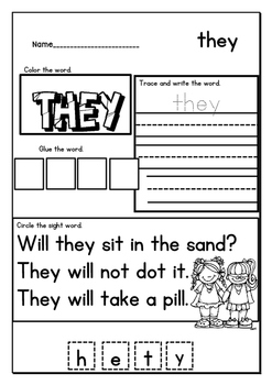 Worksheets for sight words