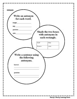 Worksheets on Antonyms