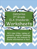 Worksheets on Book Title, Table of Contents, Inference, Glossary 3rd Grade Level