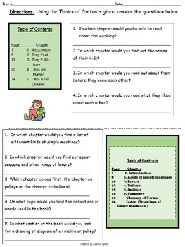 Table of contents worksheet worksheets for school roostanama for Html table title