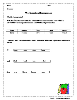 Worksheets on Homographs