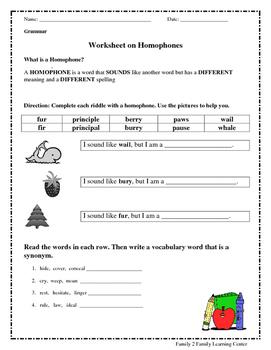 Worksheets on Homophones