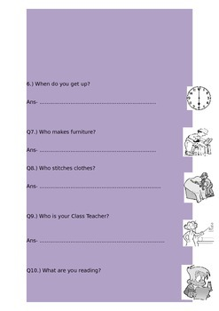 Worksheets on Question Words