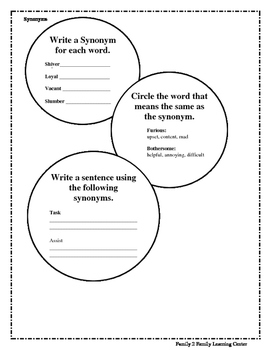 Worksheets on Synonyms
