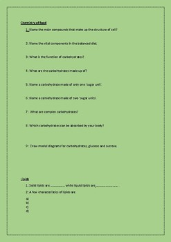 Worksheets on organistaion and the digestive system