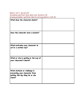 Worksheets that pair with Lucy Calkins Reading (Unit 1: Interpreting Characters)