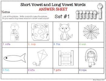Worksheets to Assess or Practice Long and Short Vowel Words