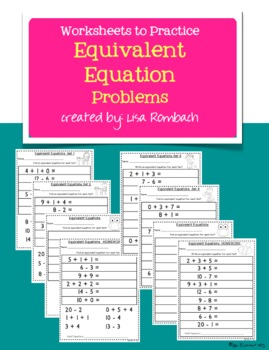 Worksheets to Practice Equivalent Equation Problems
