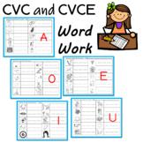 CVC and CVCE ( Sneaky e, Silent e) Word Work Practice