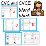 CVC and CVCE (Sneaky e, Silent e) Word Work Practice