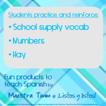 Worksheets to Teach Spanish:  School supplies & numbers